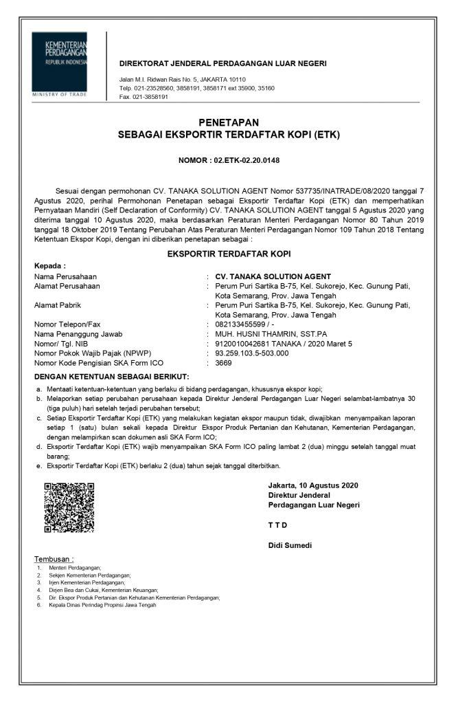 Coffee Export License ( ETK )